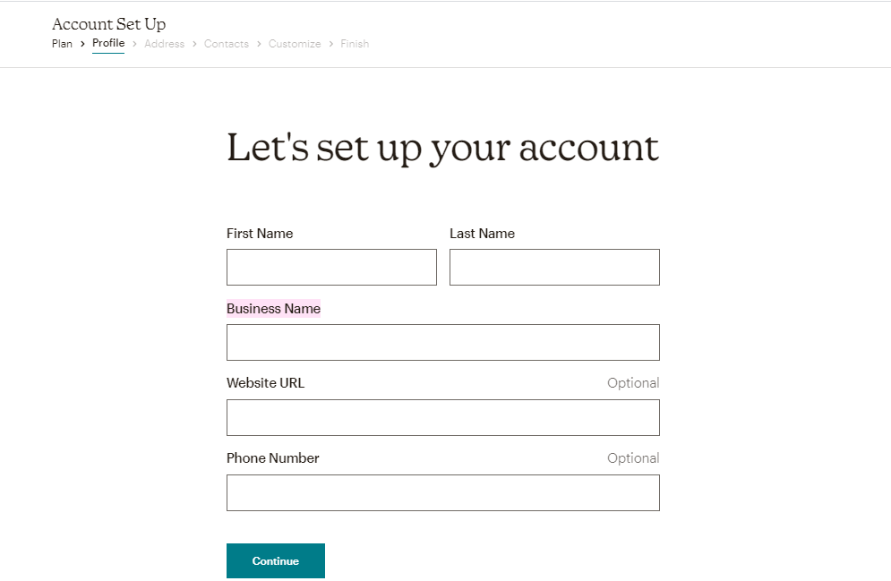 Creating a Mailchimp account - Step 4