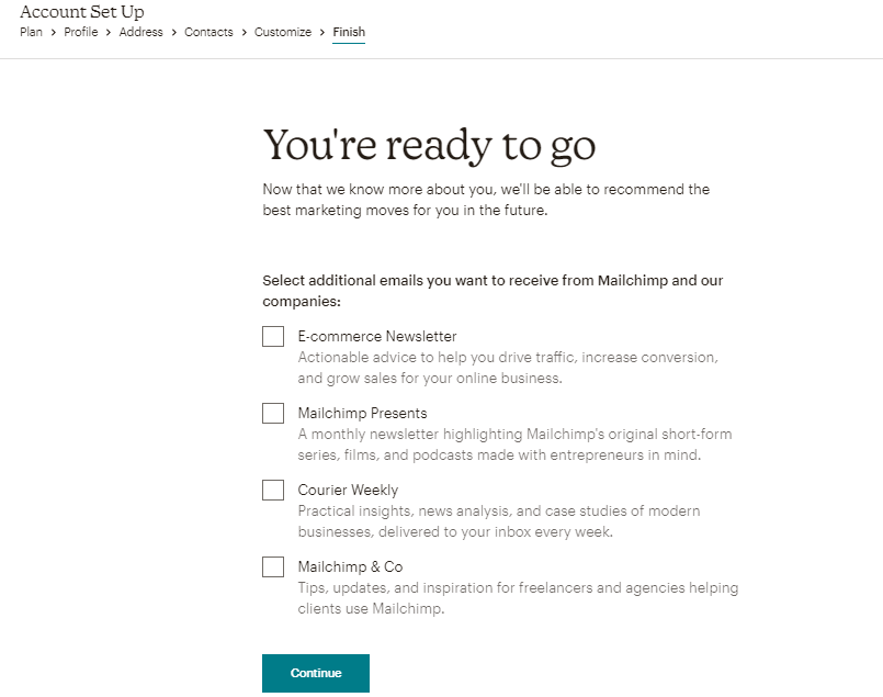 Creating a Mailchimp account - Step 7