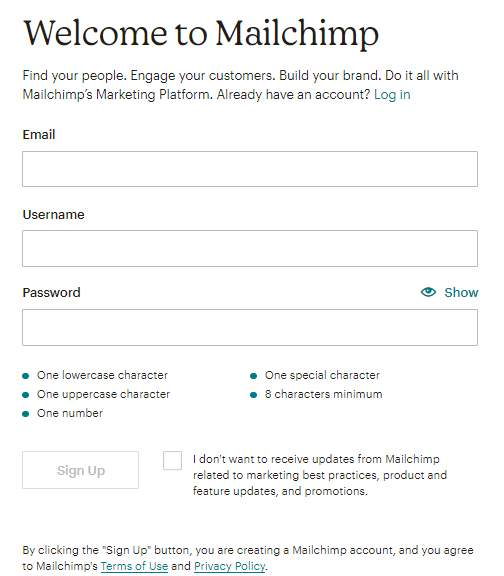 Creating a Mailchimp account - Step 2