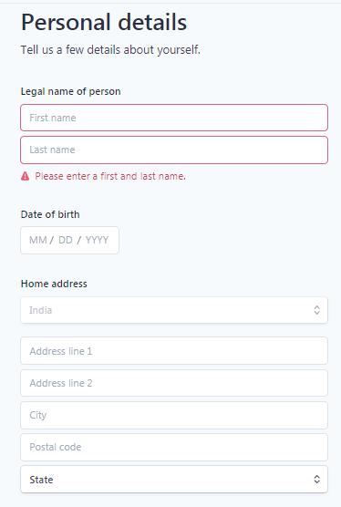 Creating a Stripe account - Step 4