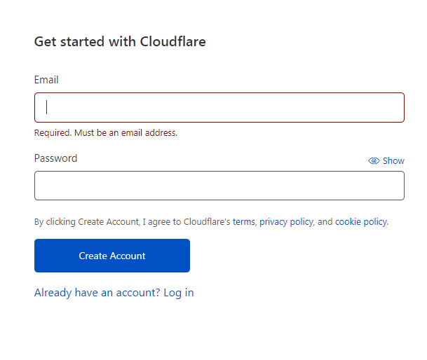 Creating a Cloudflare account - Step 2